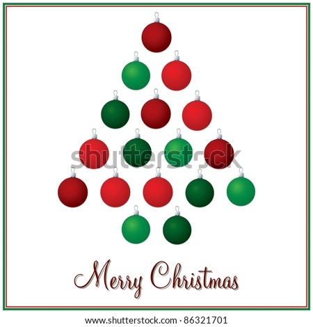 Red and green Christmas tree bauble card in vector format. - stock vector