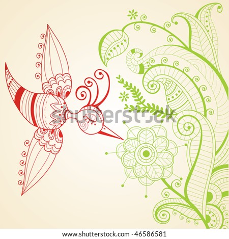 red and green decoration whit bird - stock vector