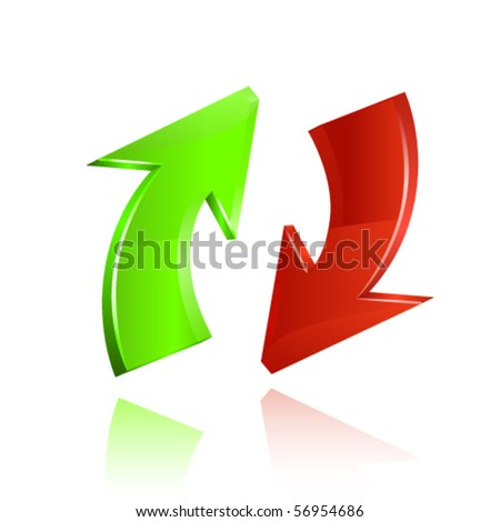 Red and green glossy arrows. Vector - stock vector