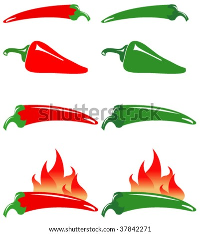 Red and green hot peppers - stock vector