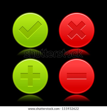Red and green icon with check mark, delete, plus and minus signs. Satin validation web buttons with color reflection on black background. Vector illustration clip-art design elements saved in 8 eps