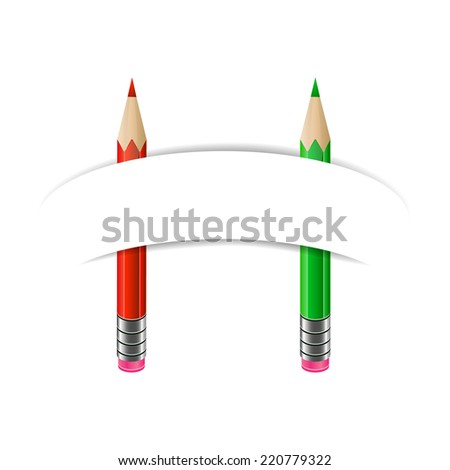 Red and green pencils with blank paper banner. Art and education, stationary - stock vector