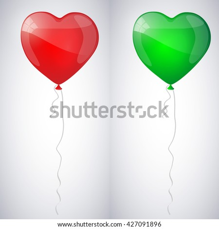 Red and green shiny glossy balloons in the form of heart. Vector illustration. - stock vector