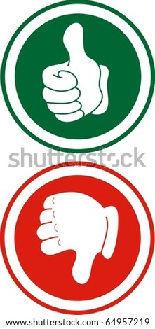 Red and green signals with hands down and up - stock vector