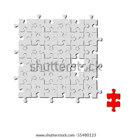 Red and grey puzzle on a white background - stock vector