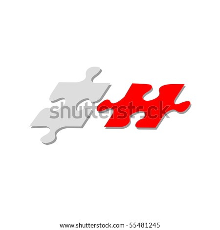 Red and grey puzzle on a white background