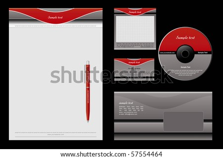 Red and grey template vector background - blank, card, cd, note-paper, envelope, pen - stock vector
