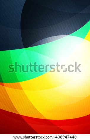 Red and orange color wave background. Vector design template