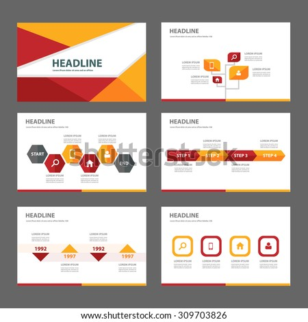 Red and orange multipurpose infographic  presentation template flat design set step and process for advertising marketing brochure flyer  - stock vector