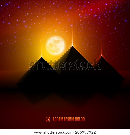 Red and orange night  egypt  desert  landscape background  illustration with moon, pyramids, landmark and stars - stock vector