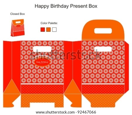 Red and Orange Present Box - stock vector