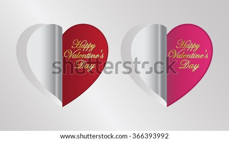 red and pink heart folding greeting valentine's day card - stock vector