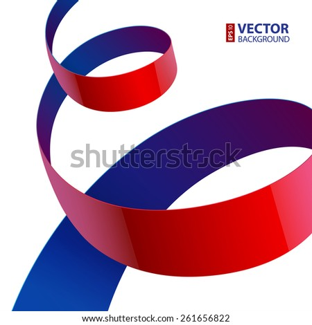 Red and purple shiny textured fabric curved ribbon on white background. RGB EPS 10 vector illustration - stock vector