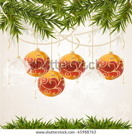 red and transparent Christmas ball on new year tree, vector illustration - stock vector
