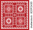 Red and White Bandana Design - stock vector