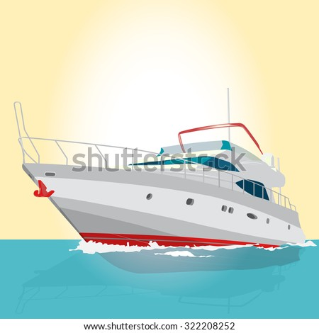 Red and white boat on the surface, nice illustration of fishing on ship