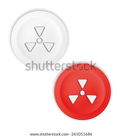 red and white buttons with radioactive symbol - stock vector