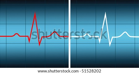 Red and white cardiograms on a blue background - stock vector
