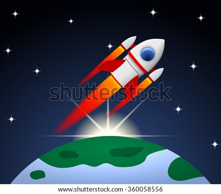 Red and white cartoon steel rocket flying on planet background with rising sun