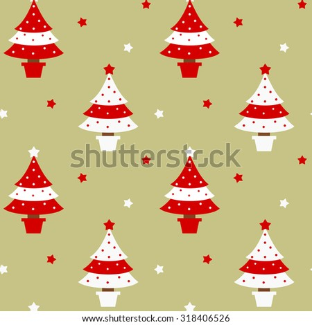 red and white christmas tree seamless vector pattern holidays background illustration - stock vector