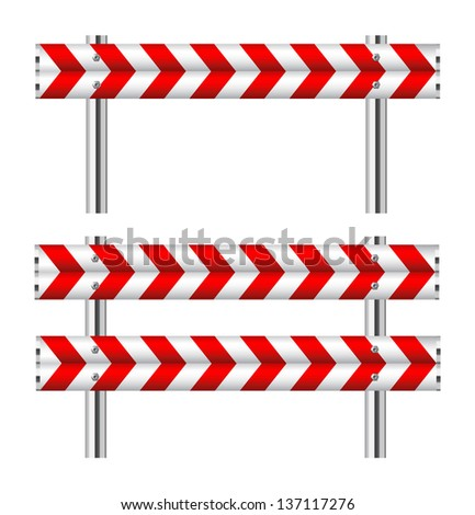 Red and white construction barricade on white - stock vector