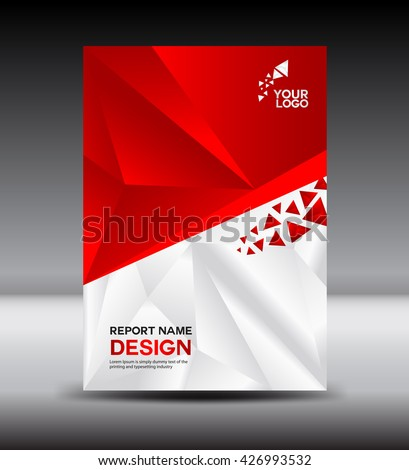 Red and White Cover design Annual report vector illustration,booklet,poster