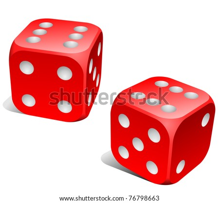 Red and white dice with double six roll. - stock vector