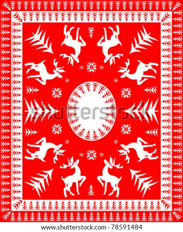Red and White Festive Table Linen Design - stock vector
