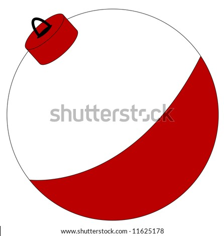 red and white fishing bobber isolated on white - vector - stock vector