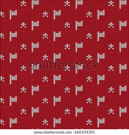 Red White Flag Star Knitting Pattern Stock Vector 660104305