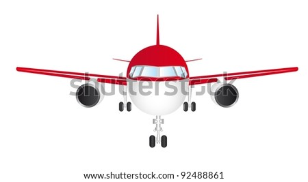 red and white front plane isolated over white background vector - stock vector
