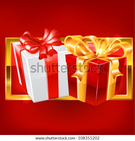 Red and white gift on red background. vector
