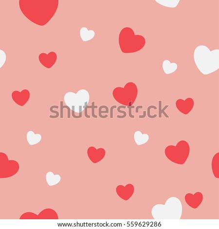 Red and white Hearts on a pink background. Abstract Seamless Pattern. Vector illustration.