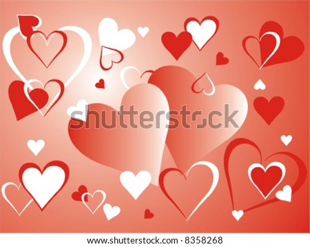 Red and white hearts on background