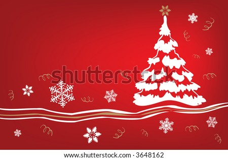 Red and white holiday tree background in vector format. - stock vector