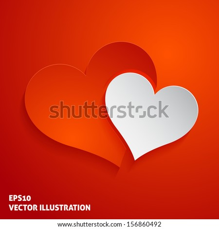 Red and white paper hearts icon on red background. Vector illustration - stock vector