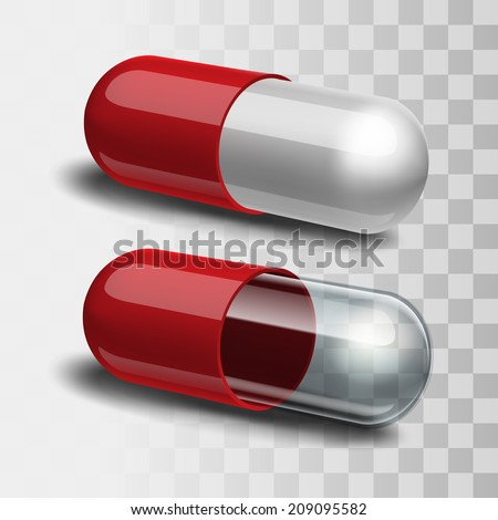Red and white pill and red and transparent pill. Vector illustration - stock vector