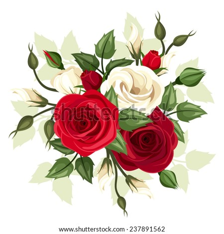 Red and white roses and lisianthus flowers. Vector illustration. - stock vector