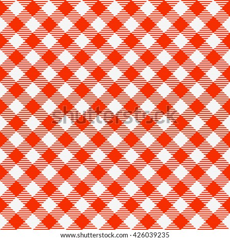 Red And White Seamless Checkered Tablecloth. Traditional Gingham Pattern,  Checkered Fabric, Tablecloth Texture