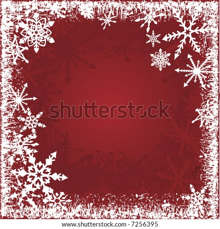 Red and White snowflakes border background with a warm and romantic feel.