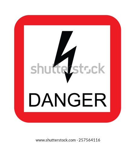 Red and white square danger sign vector icon isolated, road sign, warning sign, safety sign, high voltage - stock vector