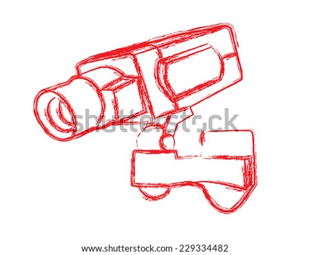 Red and White Surveillance Camera (CCTV) Warning Sign. Vector illustration - stock vector