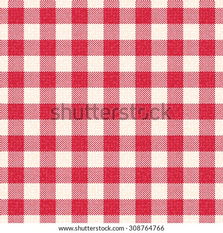 Red and white textured gingham vector pattern background