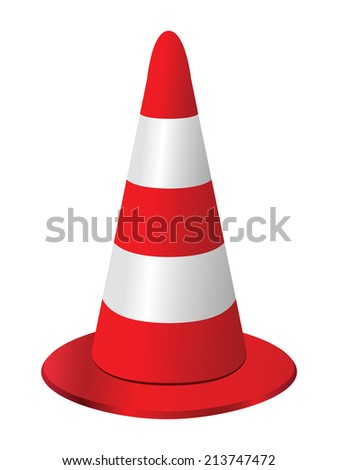 Red and white traffic cone on white - stock vector