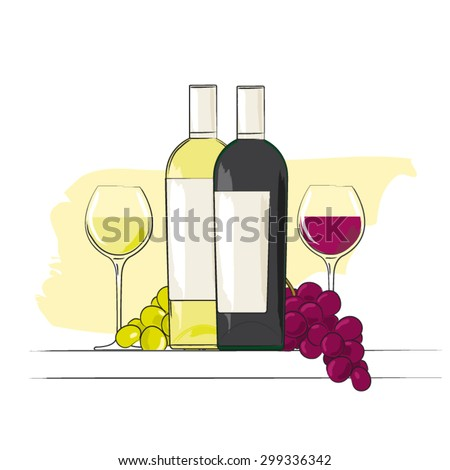 Red and white wine bottles  - stock vector