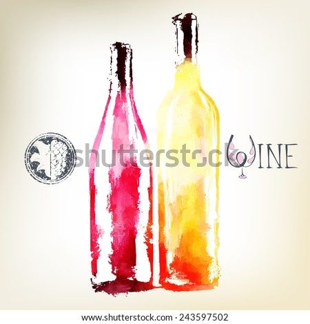 Red and white wine in bottles. Watercolor. Wine logo. - stock vector
