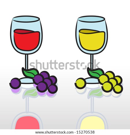 Red and white wine vector - stock vector