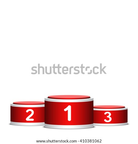 Red and white winners podium. Pedestal. Cylinder. 3D. Vector illustration.