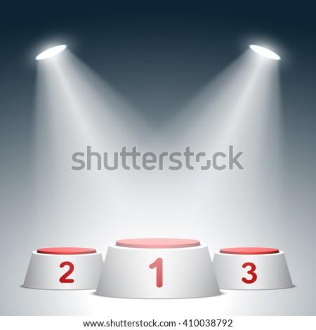Red and white winners podium. Pedestal. Spotlight. 3D. Vector illustration. - stock vector