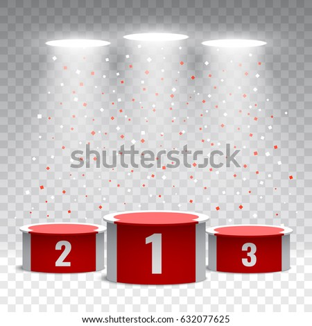 red white winners podium confetti on stock vector royalty free
